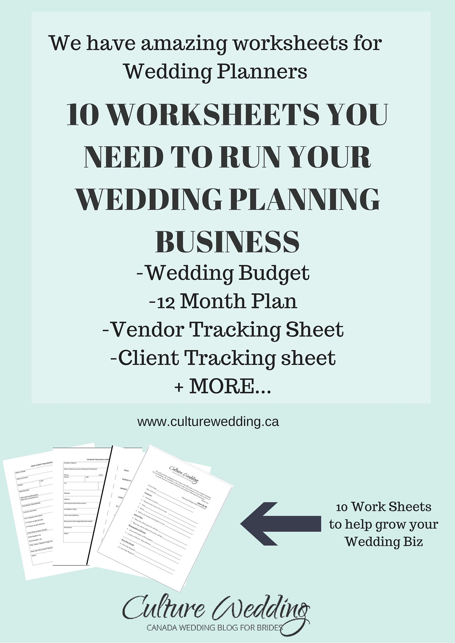 Are You Looking For Worksheets To Help In Your Wedding Business We Have Budgets Timelines Client Track Sheets Sample