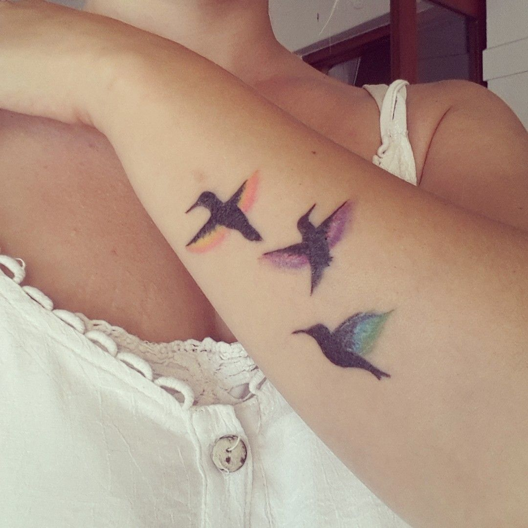 The blue hummingbird silhouette w family tattoo tattoo for Family of birds tattoo