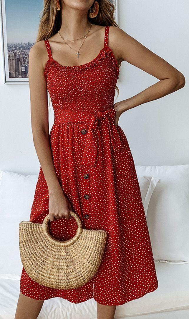 Red Polka Dot Buttoned Slip Dress #dailydressme