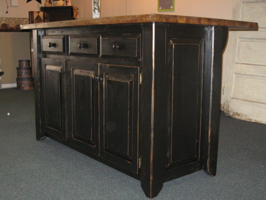 Ordinaire Unique Black Distressed Kitchen Islands Design Ideas. Fabulous Rectangle  Shape Black Wooden Color Distressed Kitchen Island Come With Rectangle  Shape Brown ...