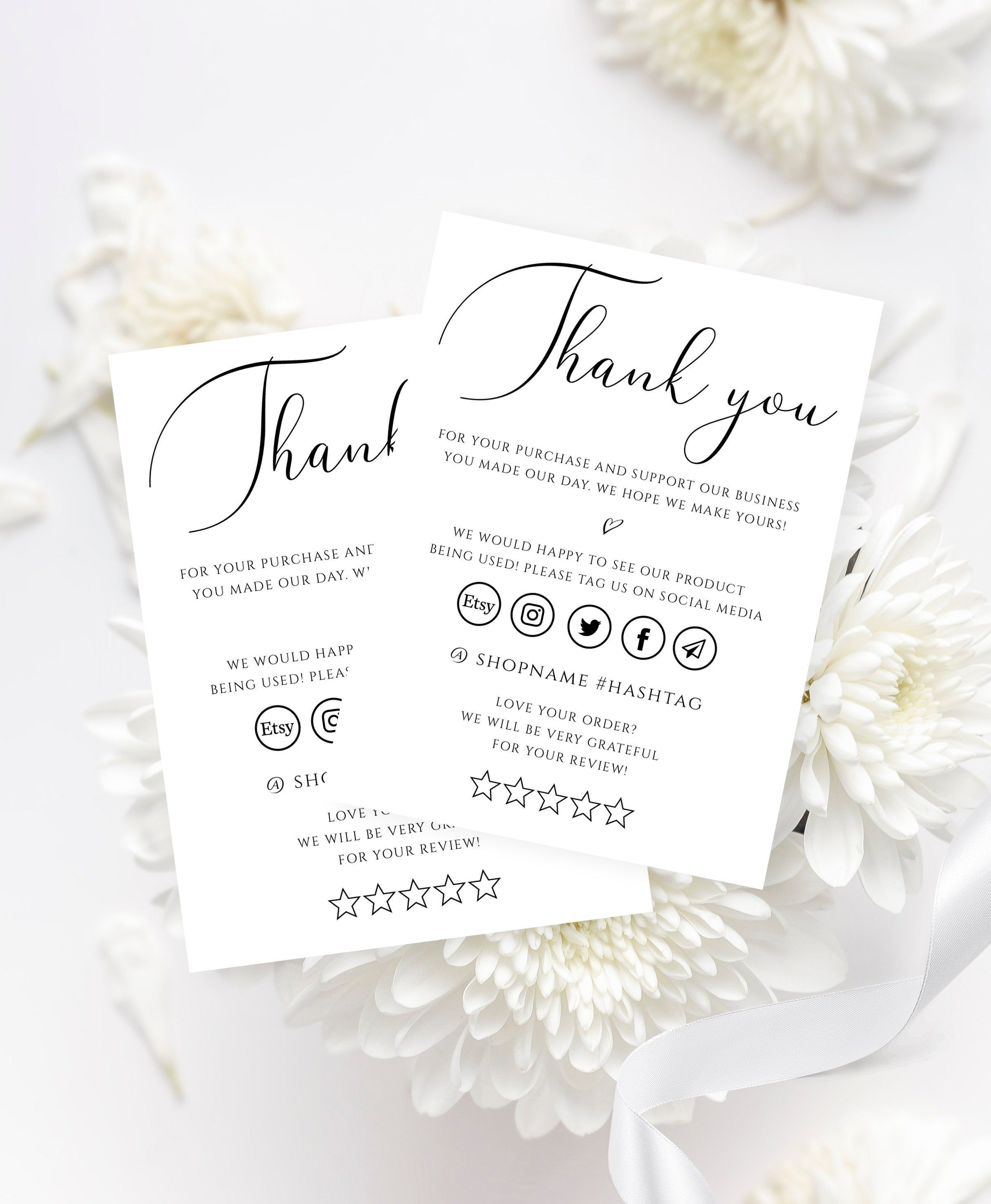 Thank You Business Card 20 Editable Template Etsy Seller   Etsy ...