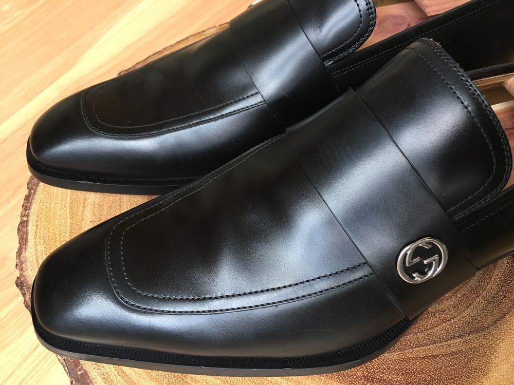 4c2822f01b3 eBay  Sponsored Gucci  Broadwick  Apron Stitch Black Leather GG Loafers 7 G  8 US  750