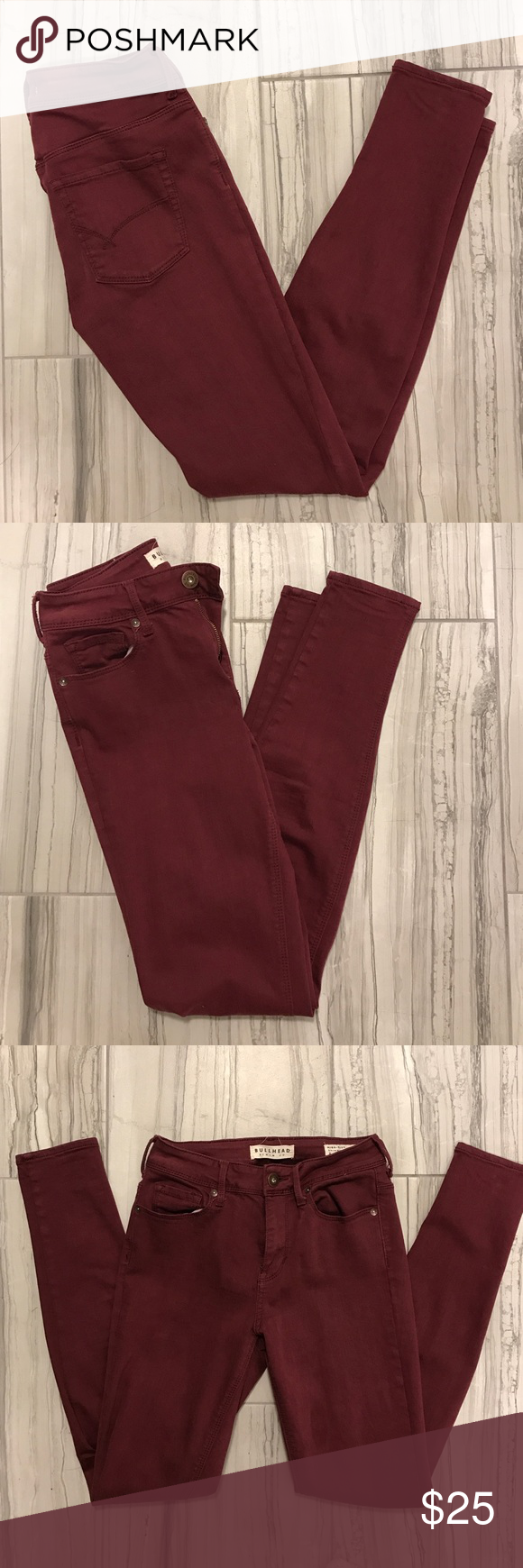 "Bullhead Denim - Maroon Jeans ""High-Rise Skinniest"" • Deep Red/Maroon • Stretch • Size 3 Bullhead Jeans Skinny"