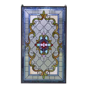 """Handcrafted Jeweled stained glass window panel 20.5/""""W x 34.5/""""H"""