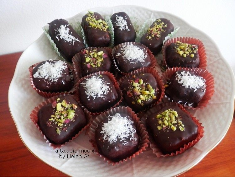 Truffles with coconut and pistachios