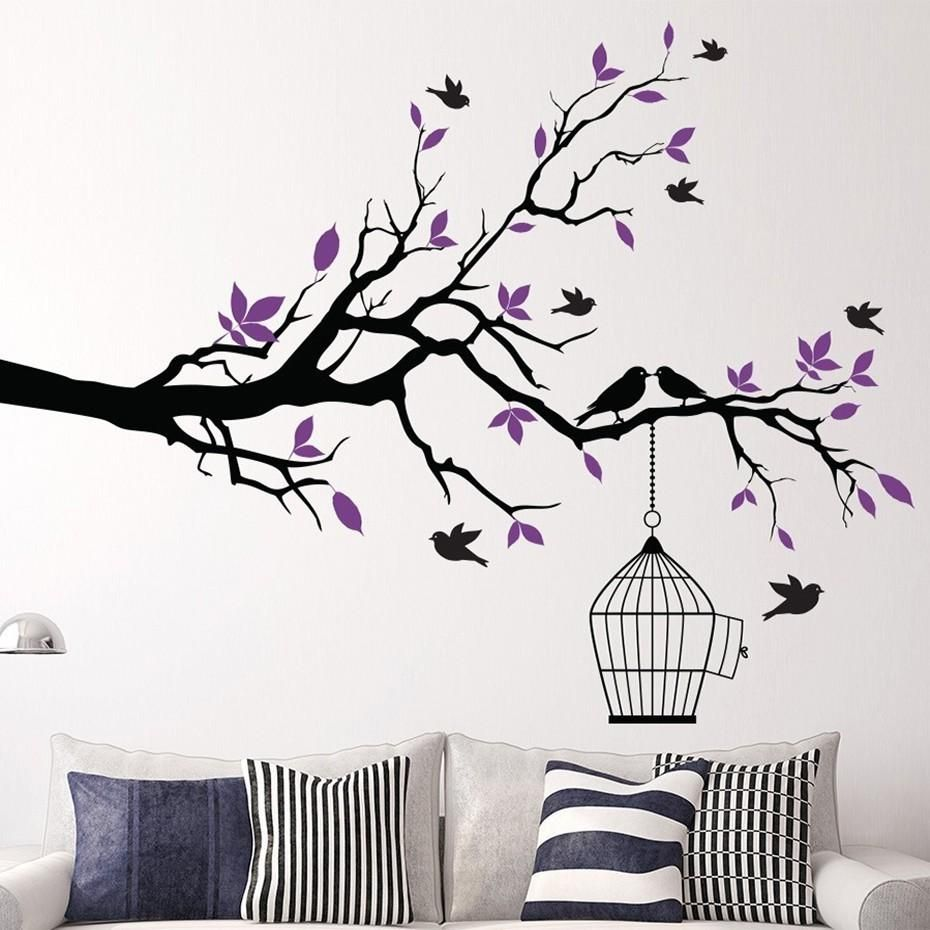 Tree Branch Wall Art Sticker With Bird Cage Removable Vinyl Wall Decals Wall Stickers For Living Room Tree Branch Wall Art Tree Branch Wall Decor Bird Wall Art