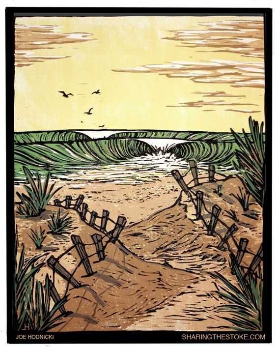 Exhibitionists: Joe Hodnicki linocut print