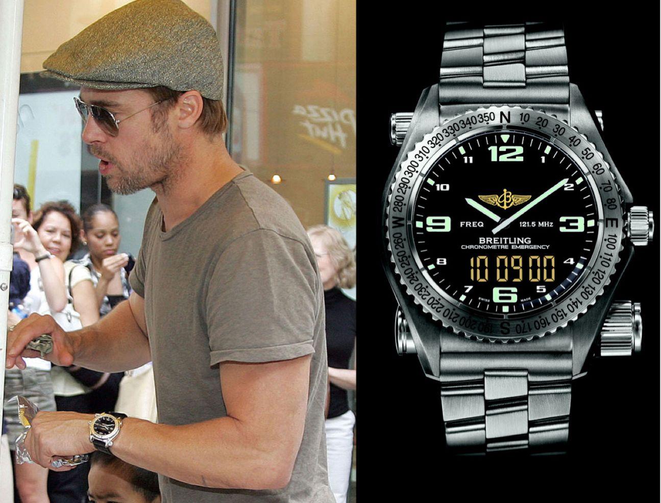 Brad pitt y su breitling emergency handsome pinterest brad pitt and handsome for Celebrity wrist watches