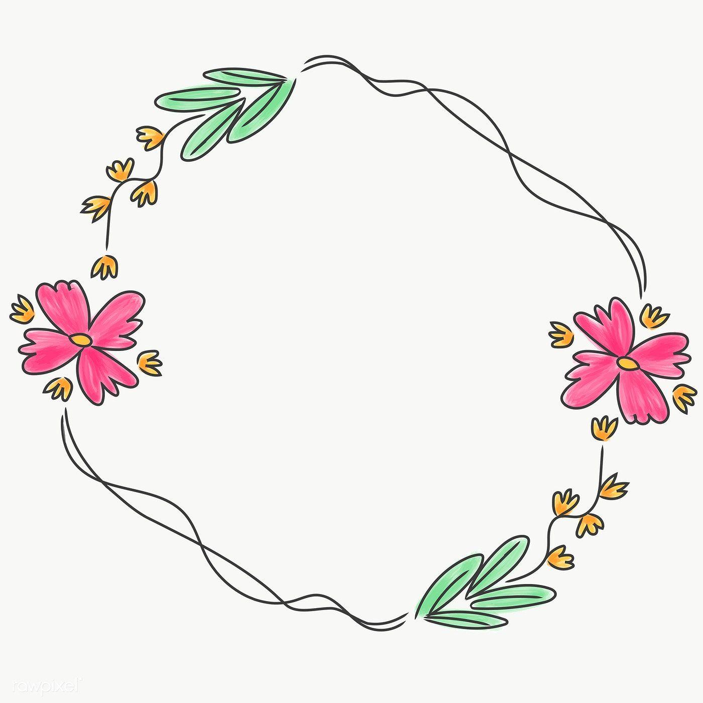 Cute Doodle Floral Wreath Transparent Png Free Image By Rawpixel Com Pimmy Flower Logo Design Flower Wreath Illustration Floral Poster