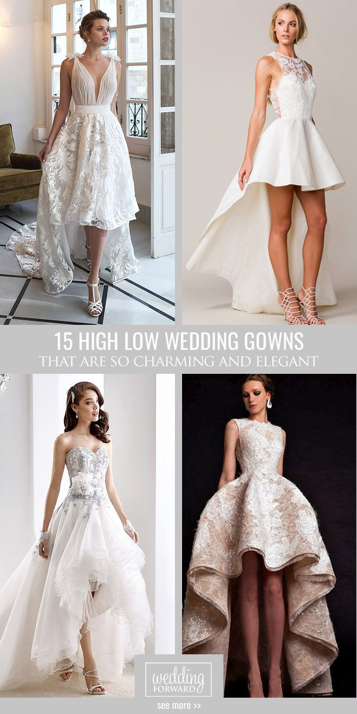 High low wedding dress with sleeves  Trend Of The Year  High Low Wedding Dresses  Gowns  Pinterest
