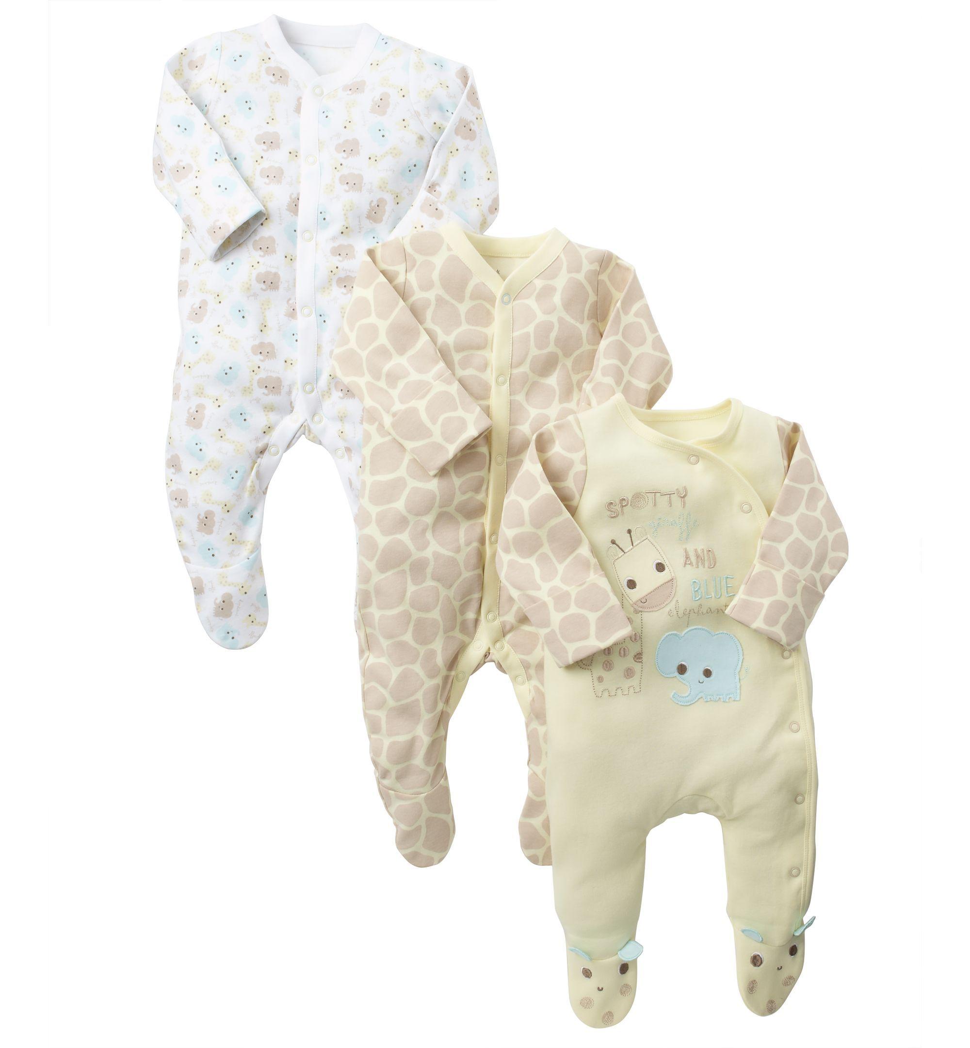 Jojo Maman Bebe Unisex Baby Sleepsuit Bodysuit Bundle Babygrow Set Newborn 0-3M