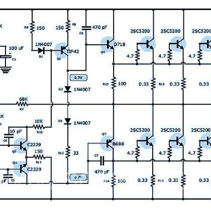 400 Watt 70 Volt Amplifier Using Power Transistor 2SC5200 ...