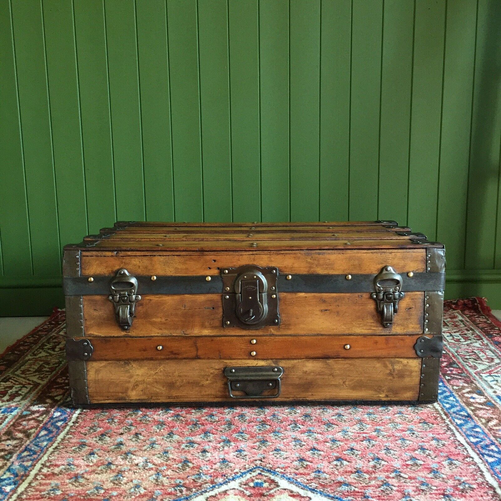 Antique Victorian Steamer Trunk Coffee Table Old Rustic Pine Chest
