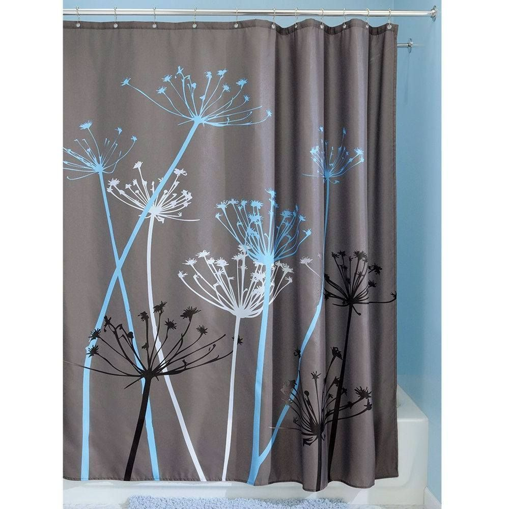 Grey blue floral modern x inch shower curtain products