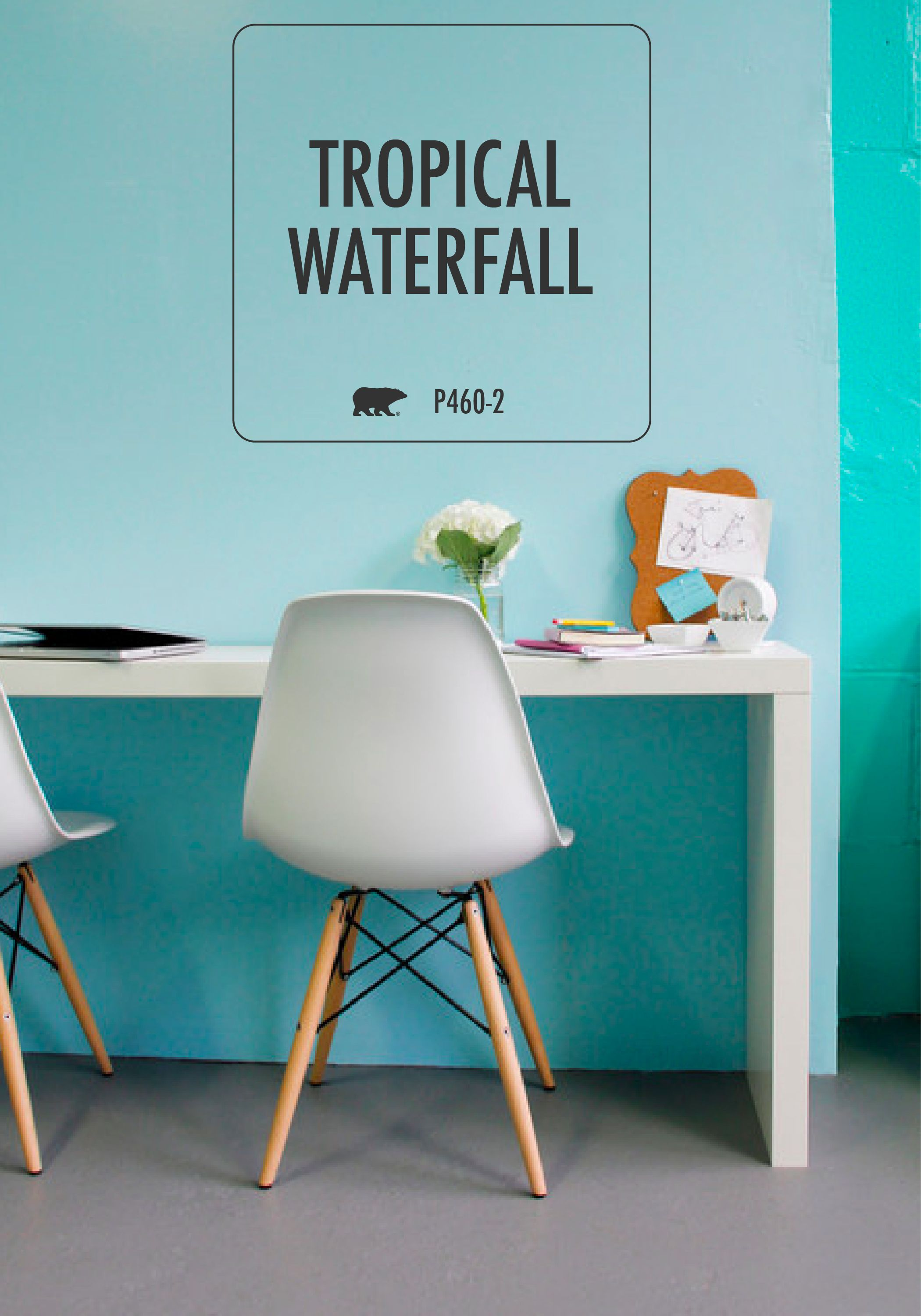 Your Worke Is Longing For An Uplifting Paint Color To Give It New Life Try Behr In Tropical Waterfall Blue And Island Aqua On Accent Wall