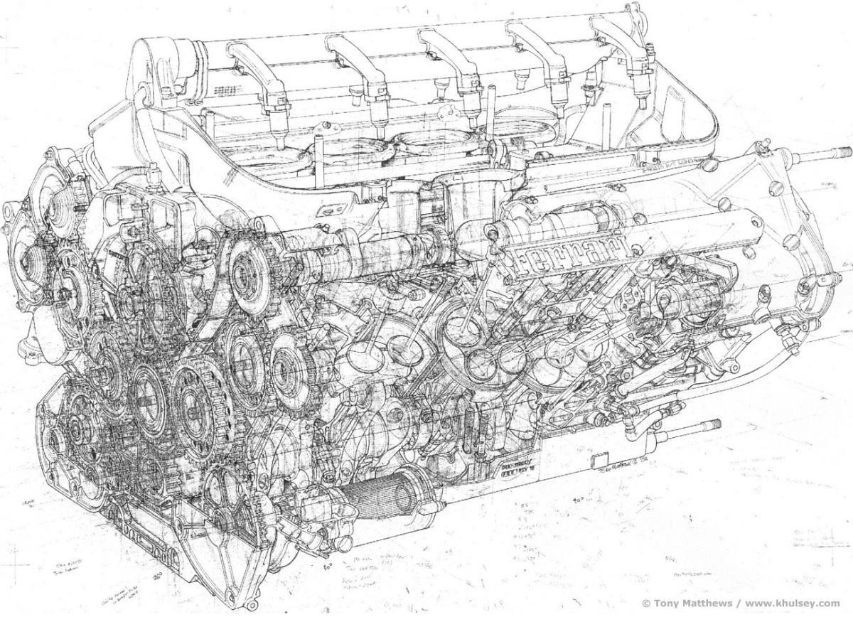 Ferrari F1 Engine Illustrated by Tony Matthews | Cutaway - Line Art ...