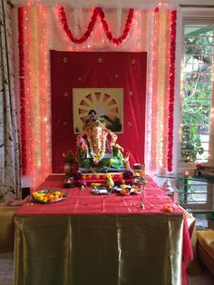 image result for ganpati decoration ideas for home with cloth