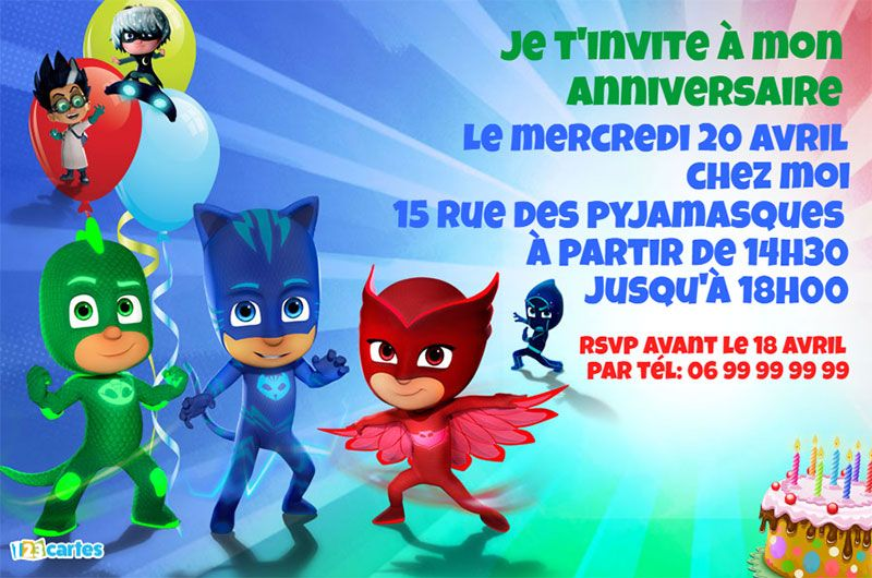 invitation anniversaire pyjamasques