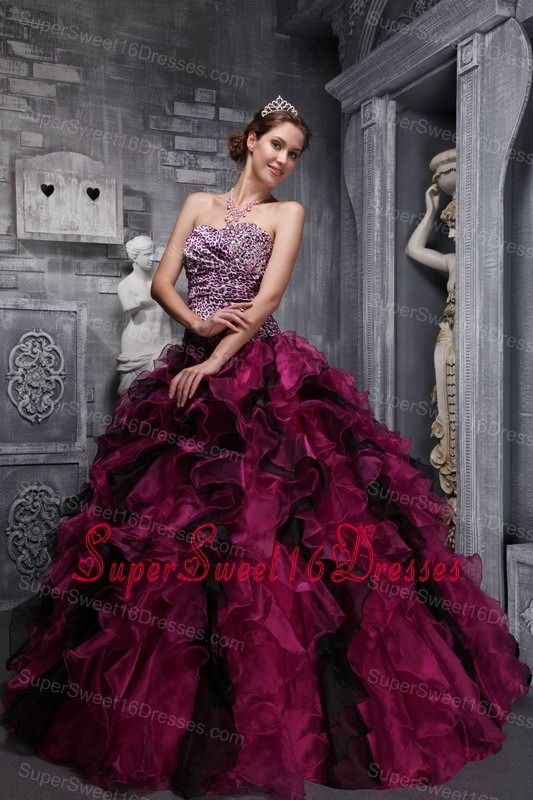 Best Fuchsia and Black Sweet 16 Dress Zebra Print and Ruffles and Beading  Ball Gown af8056409