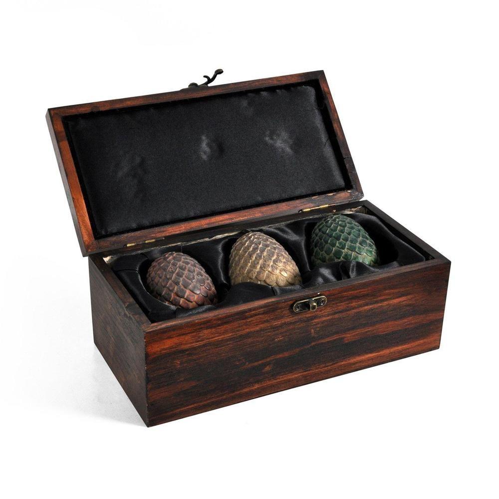 Game of Thrones Dragon Egg Prop Replica Set in Wooden Box Targaryen Edition