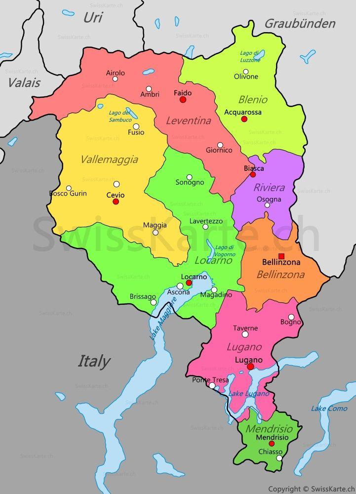 Cartina Svizzera Lugano.Mappa Del Ticino Nel 2020 Mappe Svizzera E Lugano