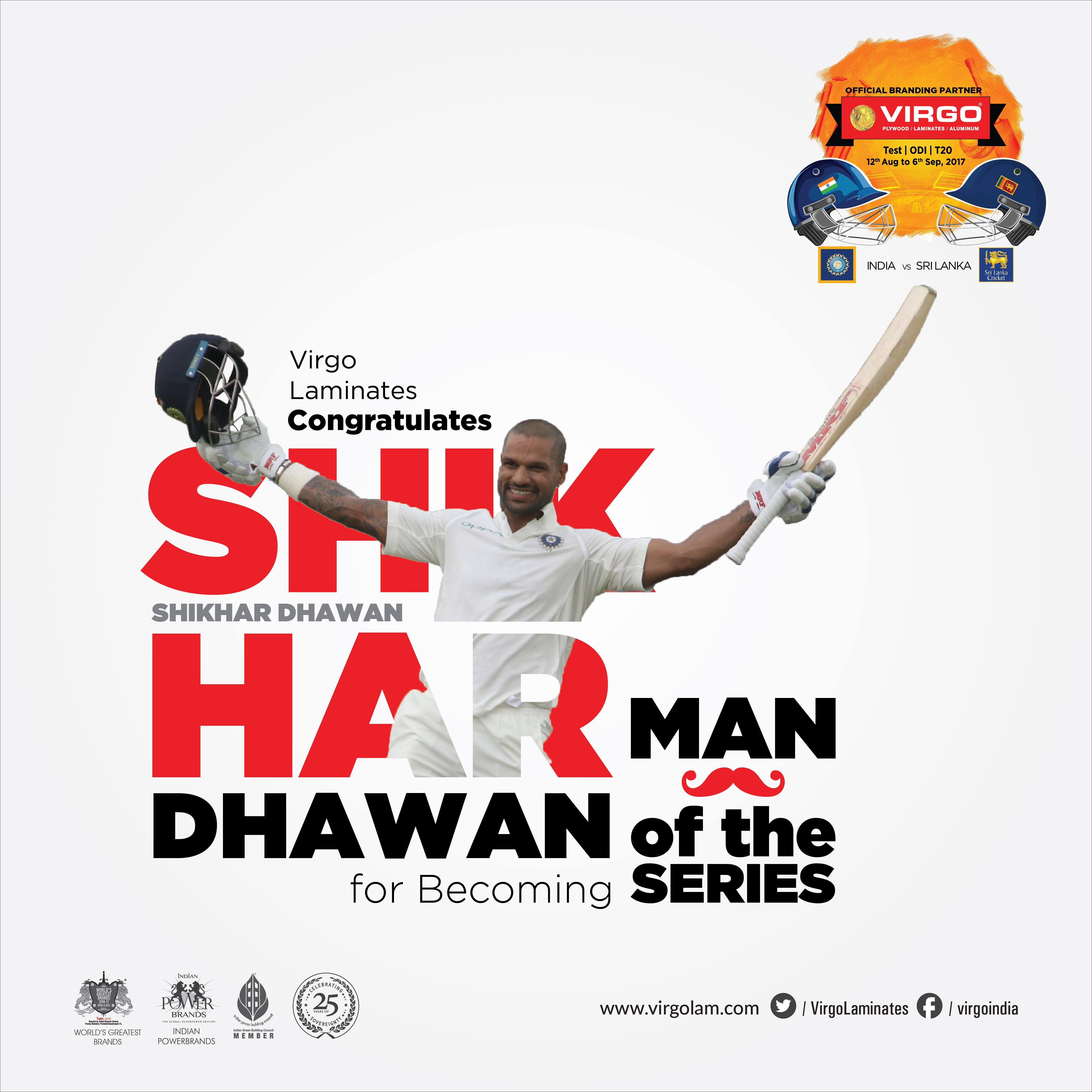 Virgo Laminates Congratulates SHIKHAR DHAWAN for