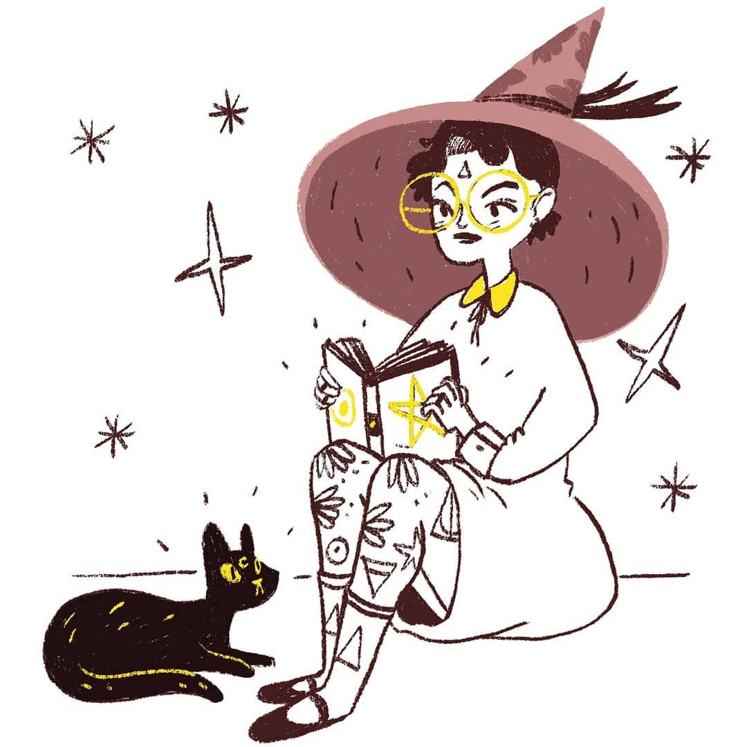 Happy Saturday And Here Is A Sketch For You Guys Hope You Like It Illustration Witch Witchcraft Witchy Cat Cat Sketch Cat Face Drawing Witch Pictures