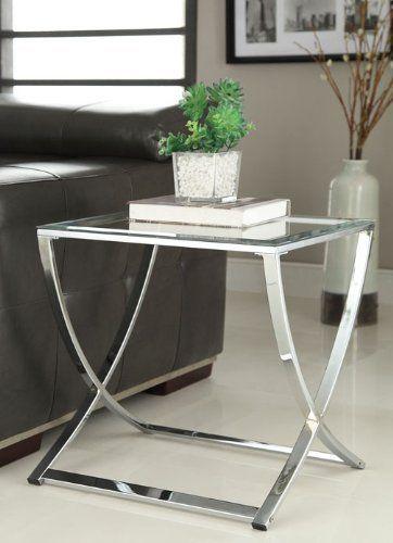 Chrome Finish Glass Chair Side End Table Decoracao Decoracao