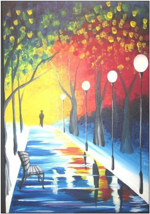 Snowy Sidewalk Lamp Lit Path Beginner Palette Kni