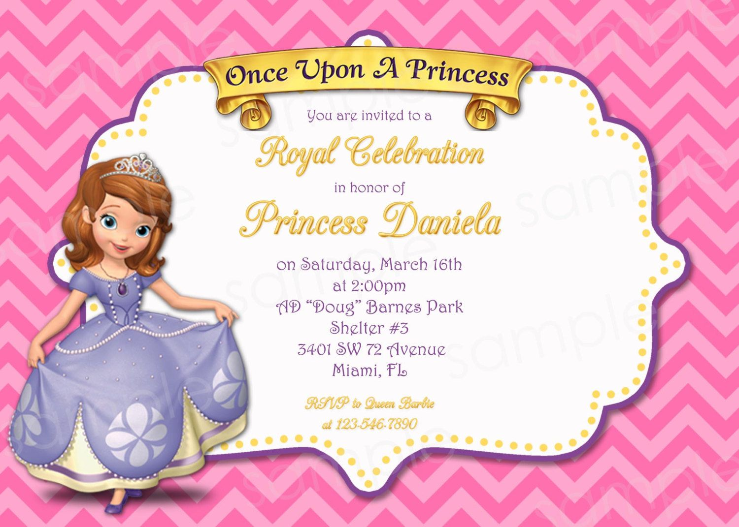 PRINTABLE Sofia the First Princess Birthday Invitation Chevron Print ...