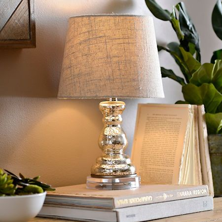 Mini Silver Mercury Glass Table Lamp Table Lamp Silver