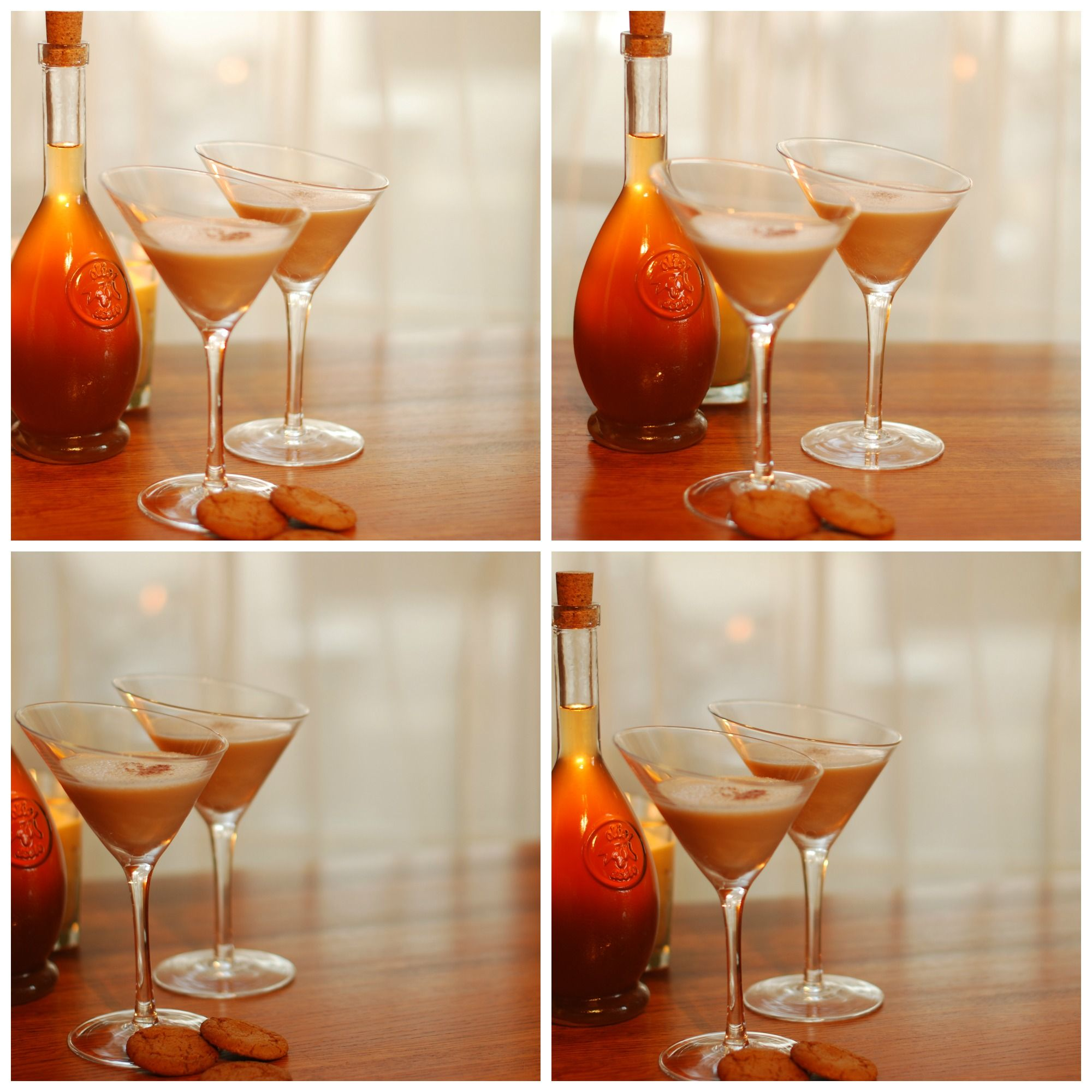 Photos of French Gingerbread Martinis taken at sunset. Recipe available http://www.frenchgingerbread.com/recipe_blog_.html