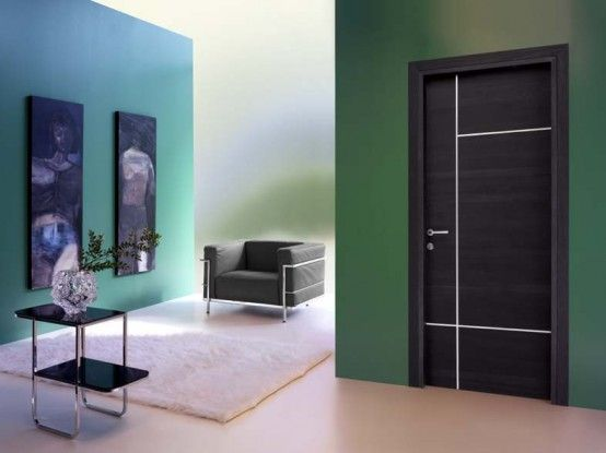 if you like modern interior design you will love this black door with white lines - Doors Design For Home
