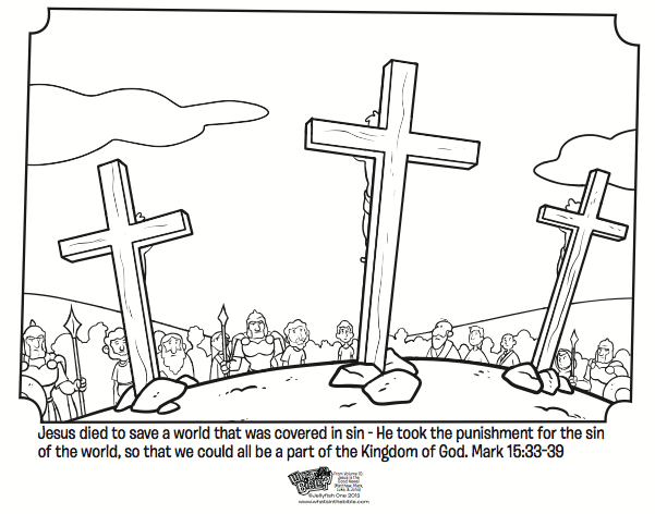 kids coloring page from whats in the bible showing jesus on the cross from mark