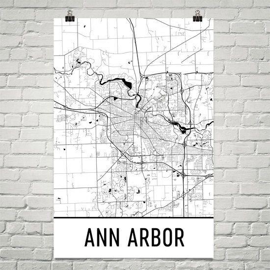 Ann Arbor Print Ann Arbor Map Poster Ann Arbor MI Wall Art Map - Ann arbor map
