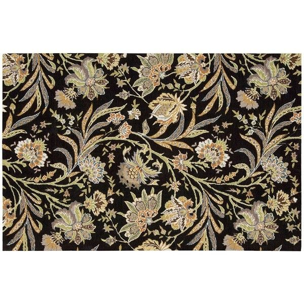 Nourison Gatsby Floral Rug ($250) ❤ liked on Polyvore featuring home, rugs, black, black floral rug, floral area rugs, nourison area rugs, nourison rugs and art deco rugs
