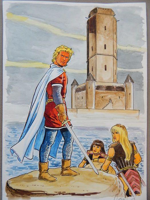 Scholz, Claus - ingekleurd Origineel - De Rode Ridder - De Zwarte Drietand  - W.B.