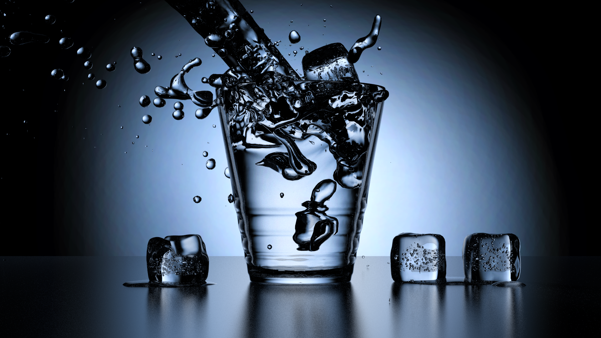Simulated Water Flowing Into A Cup Water Flow Cup Blender