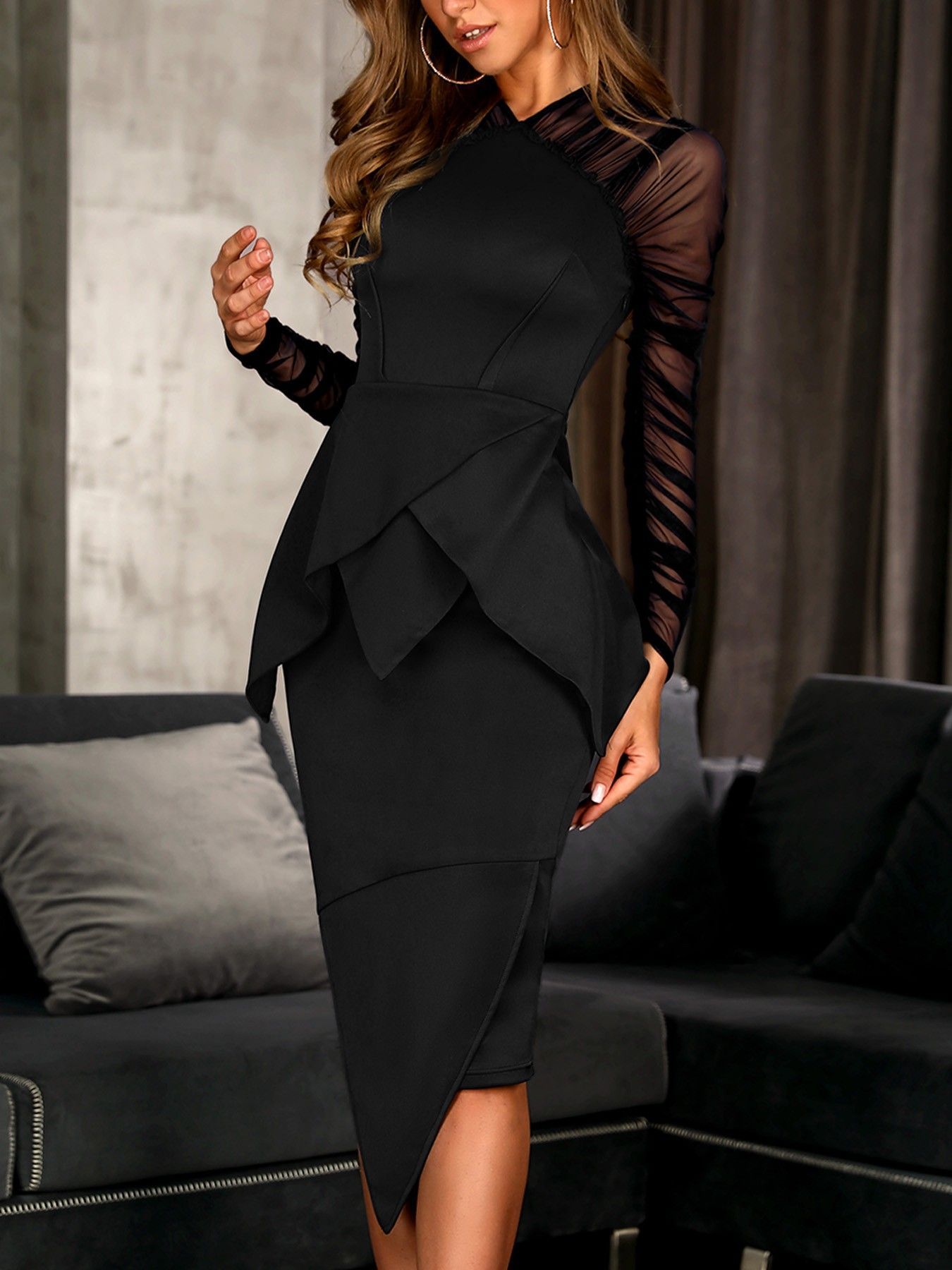Mesh Sleeve Peplum Irregular Dress  Kleider mode, Kleider, Modestil