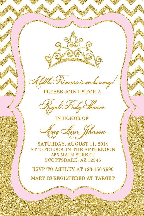 Princess Baby Shower Invitation, Tiara Crown Baby Shower Invitation ...
