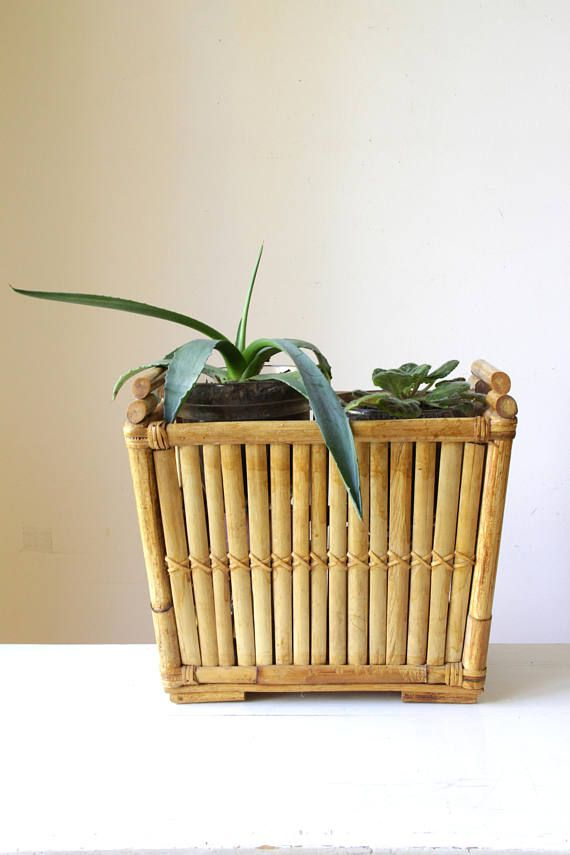 Vintage Bamboo Planter Box Cane Magazine Rack Wicker Storage