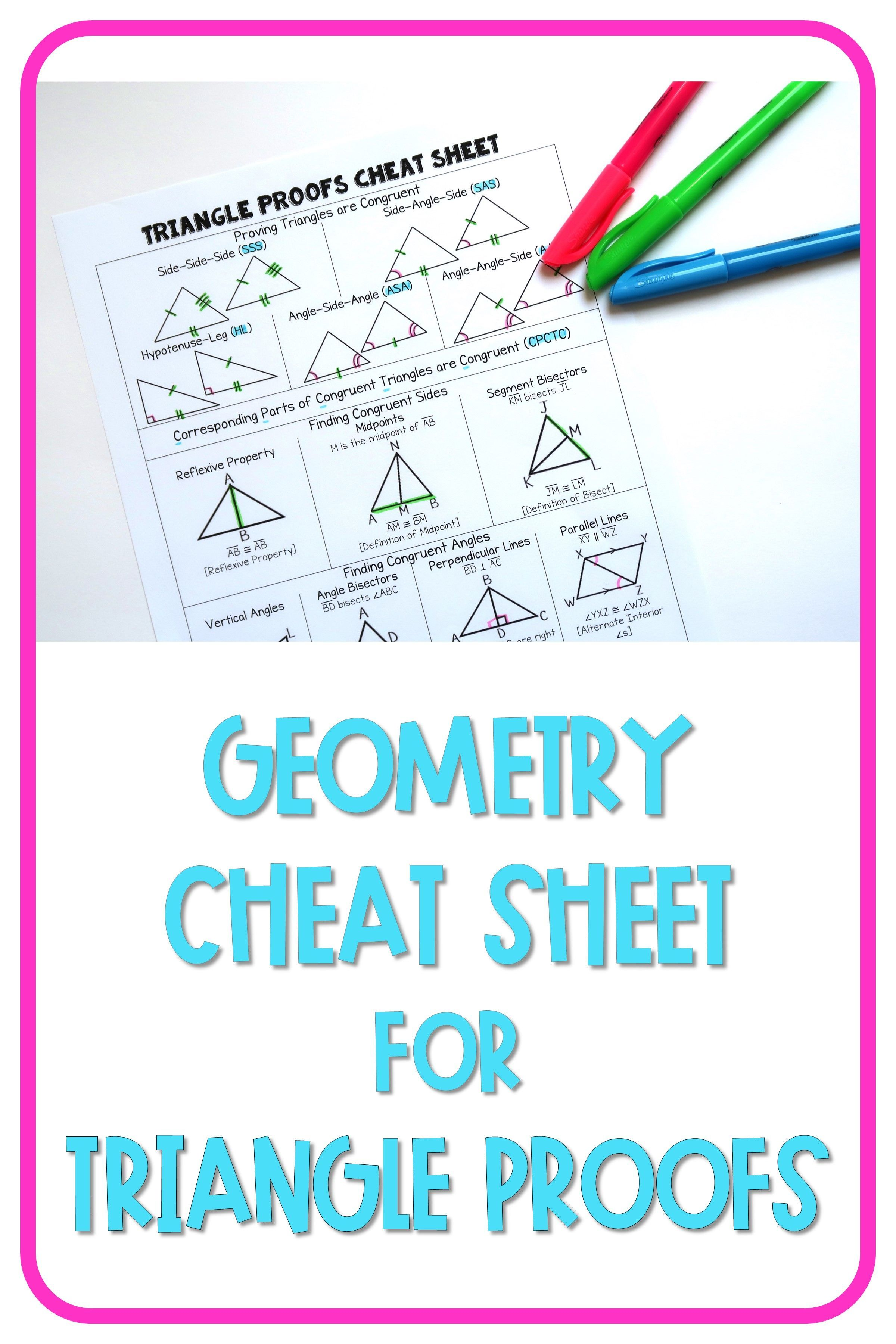 Grab this High School Congruent Triangle Proofs Geometry Cheat Sheet  printable PDF for a fill…   Triangle worksheet [ 3600 x 2400 Pixel ]