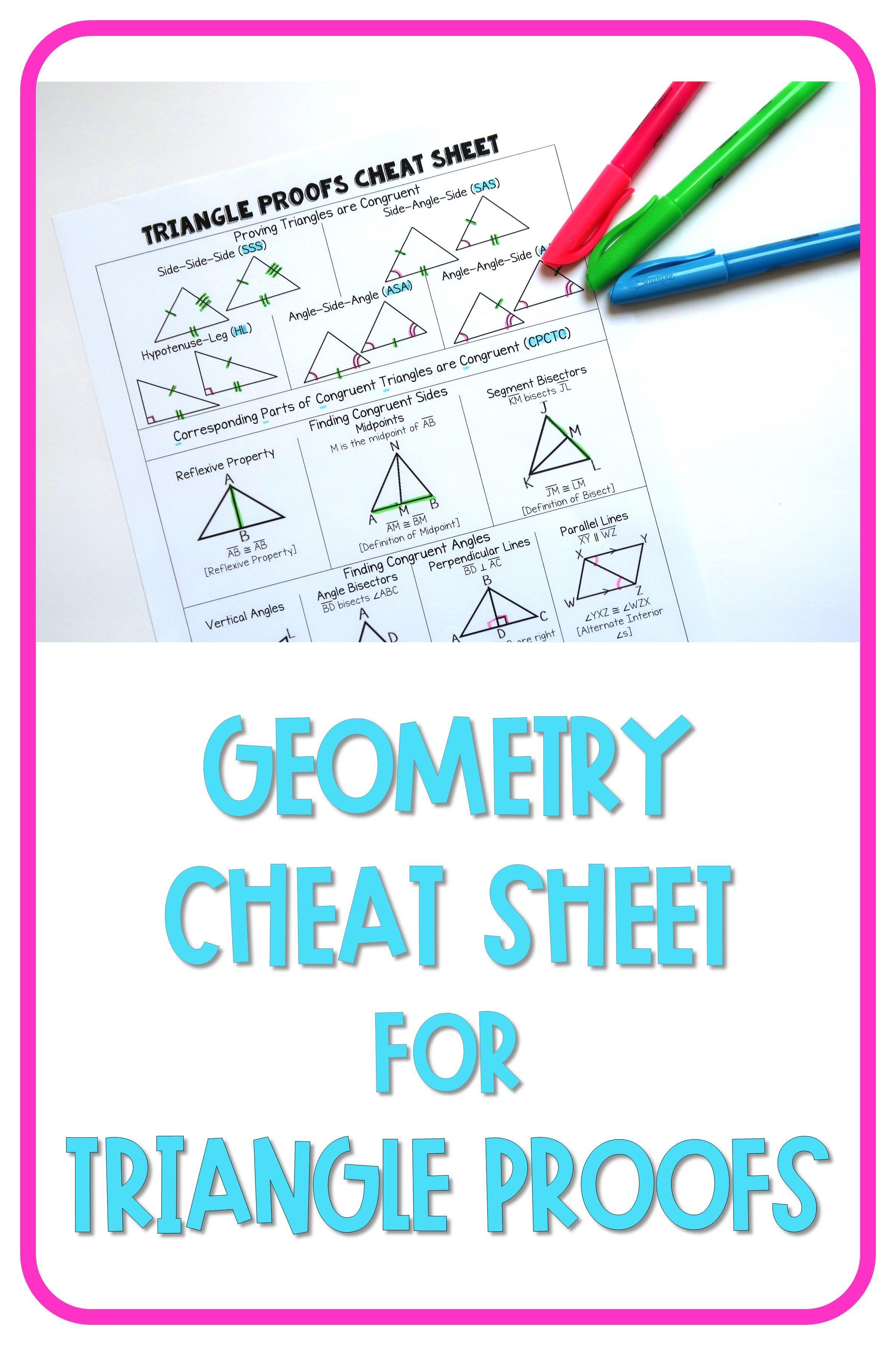 Geometry Cheat Sheet Triangle Proofs In