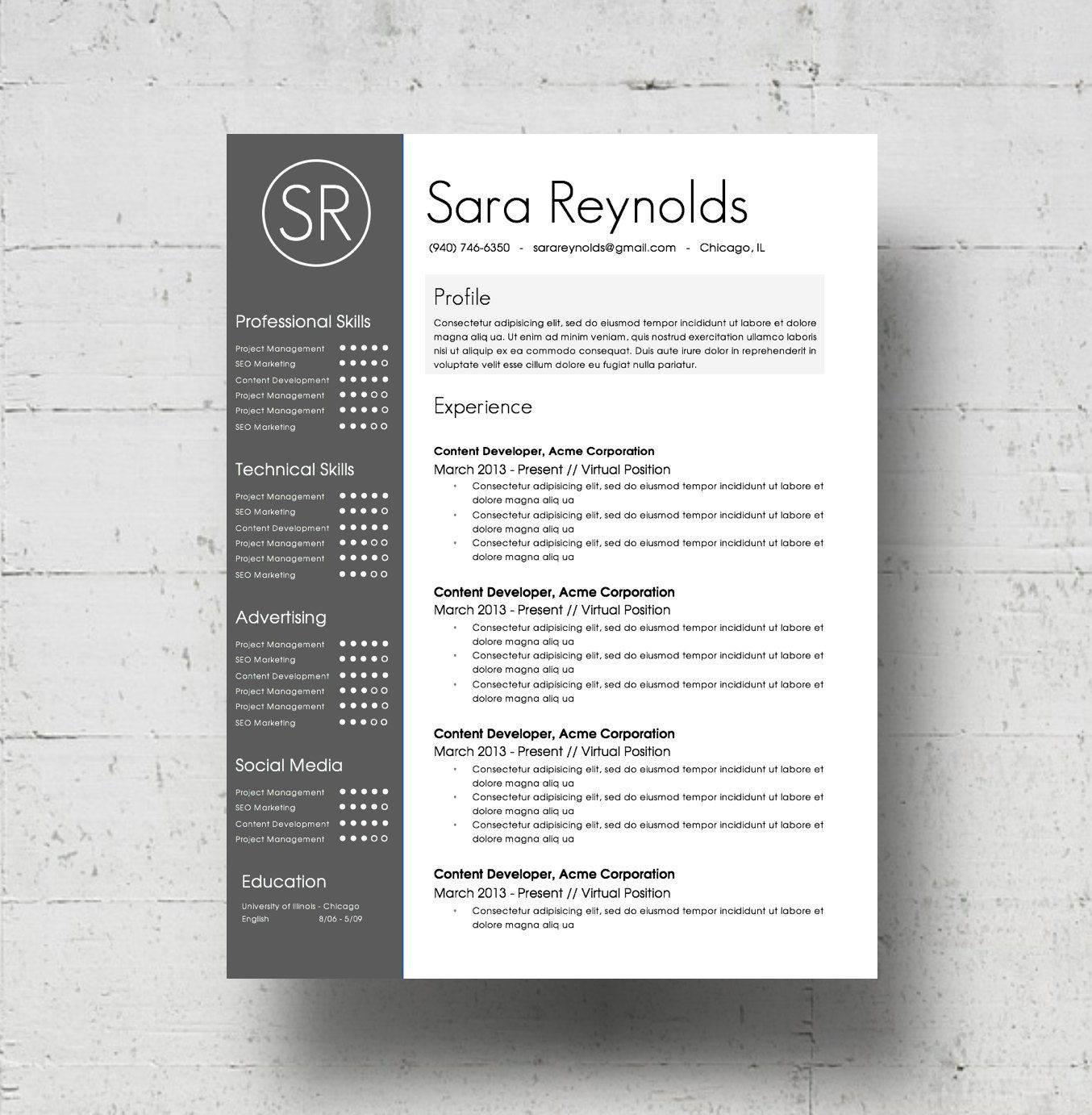 Resume Templates Word 2013 Resume Template & Cover Letter Template Cv Template Wbusiness