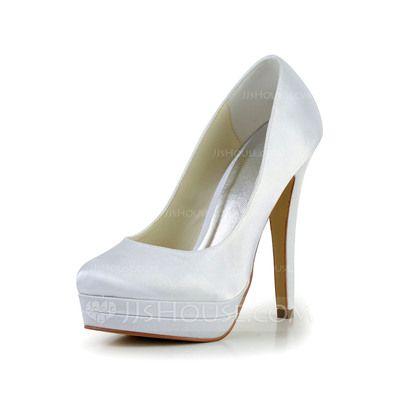33254232ac7 Women s Satin Stiletto Heel Closed Toe Platform Pumps (047024175)  Stilettos
