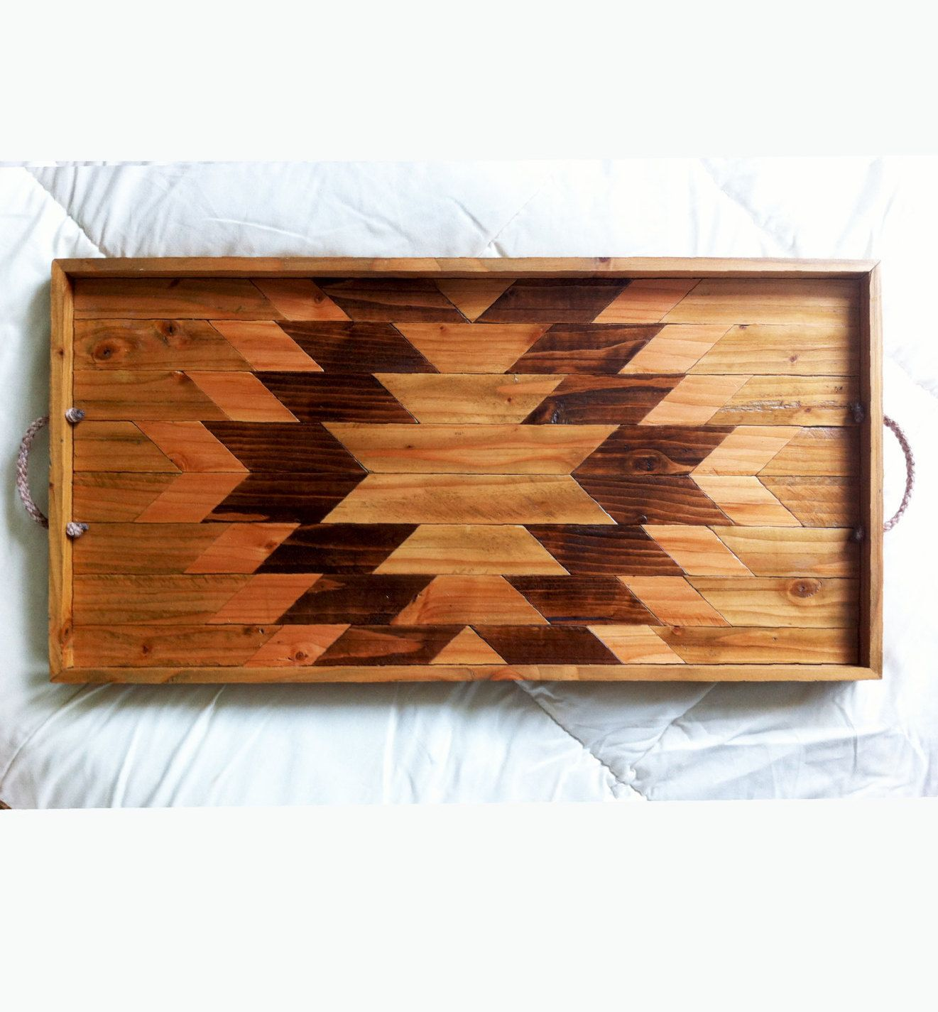 Wood Serving Storage Tray Repurposed And Lined With Vintage Wooden Yardsticks Serving Storage Decorative Tray Tray