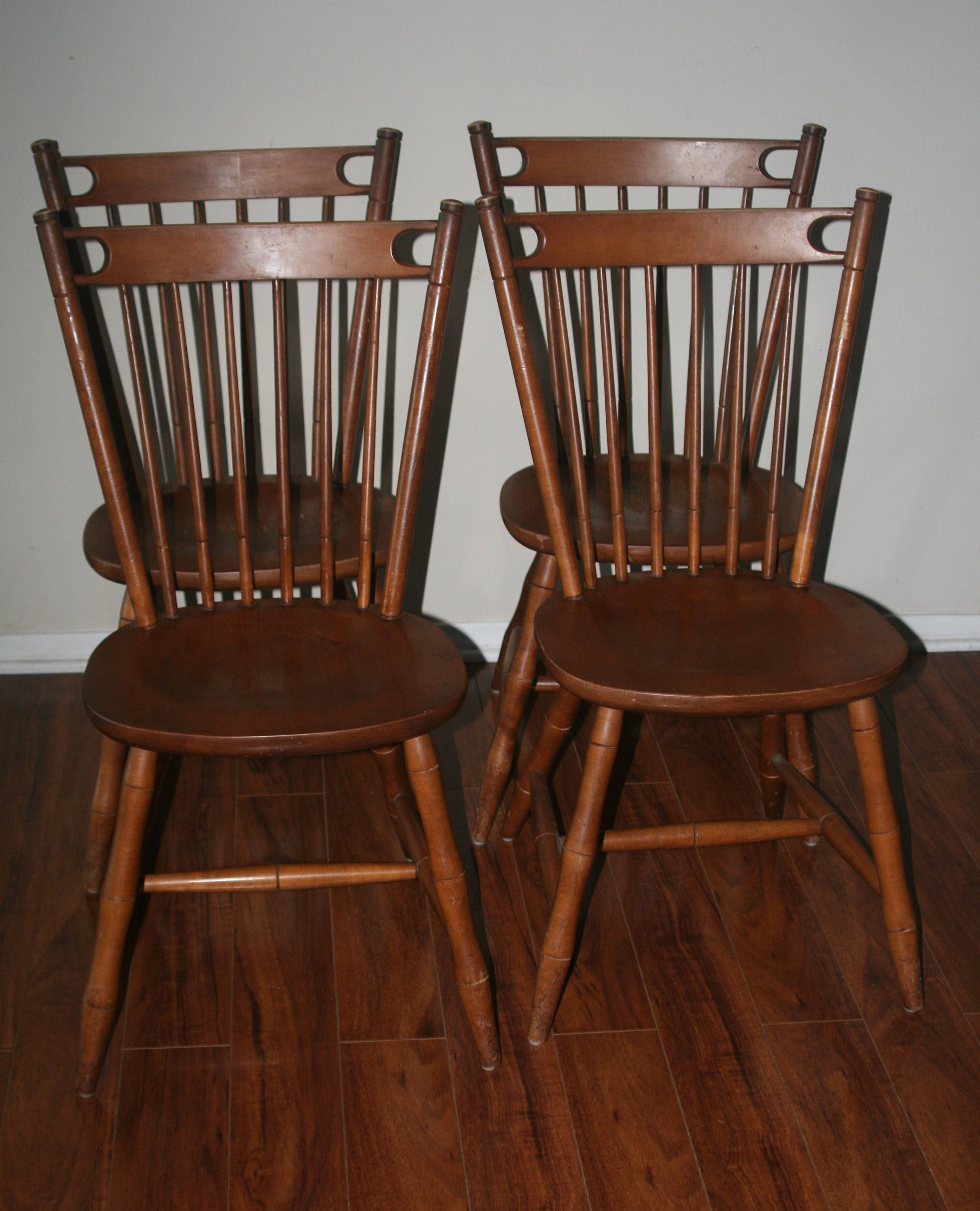 Vintage Mid Century Dining Rooms: 4 Mid Century Tell City Company Dining Chairs By