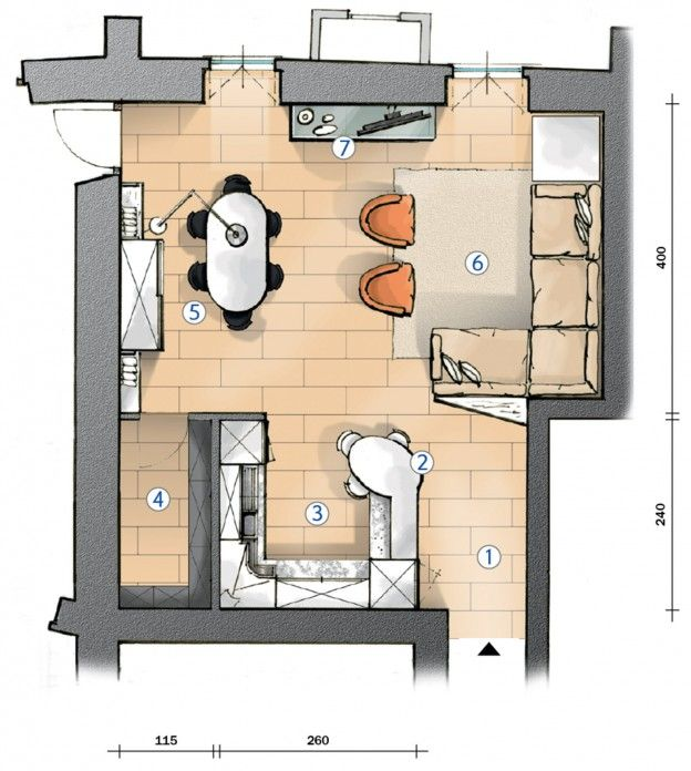 Cucina a vista e soggiorno insieme. Progetto in pianta nel ...