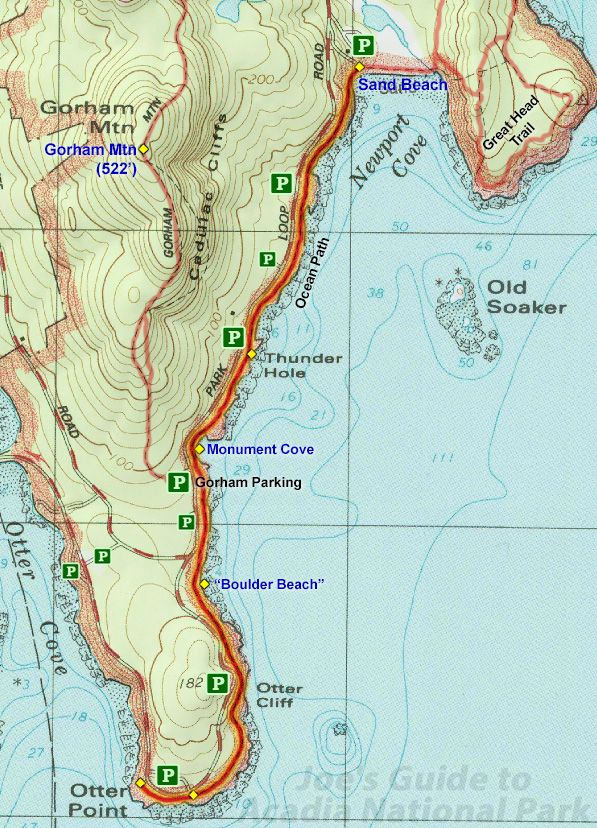 Ocean Path Trail Topo Map, access from the Sand Beach