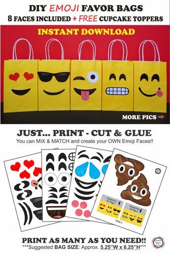 Emoji Party Favor Bags DIY Birthday Ideas Decorations Printable Faces